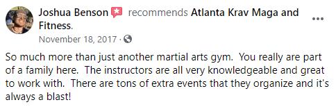 Testimonial 2, Atlanta Krav Maga & Fitness in Alpharetta, GA